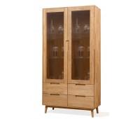 Шкаф с витриной Сканди 2 из массива дуба