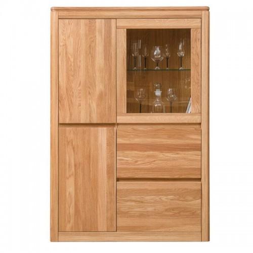Шкаф с витриной Лозанна 2 Люкс из массива дуба